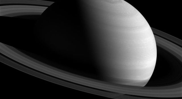 NASA's Cassini spacecraft shows off this angled view of the rings and Saturn's poles taken on Feb. 26, 2016.