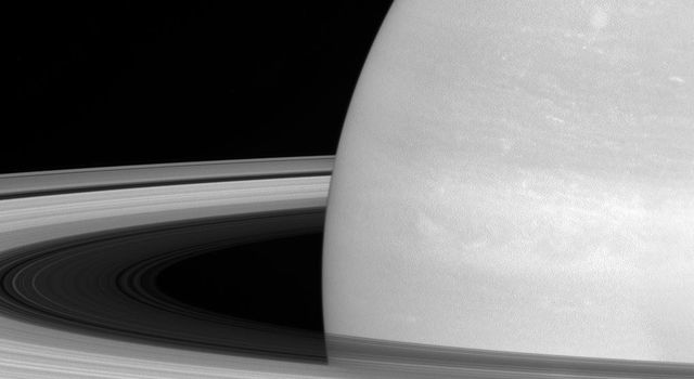 Saturn's icy moon Mimas is dwarfed by the planet's enormous rings as seen by NASA's Cassini spacecraft.