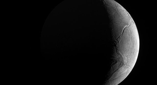 Seen from outside, Enceladus appears to be like most of its sibling moons: cold, icy and inhospitable, as seen by NASA's Cassini spacecraft.