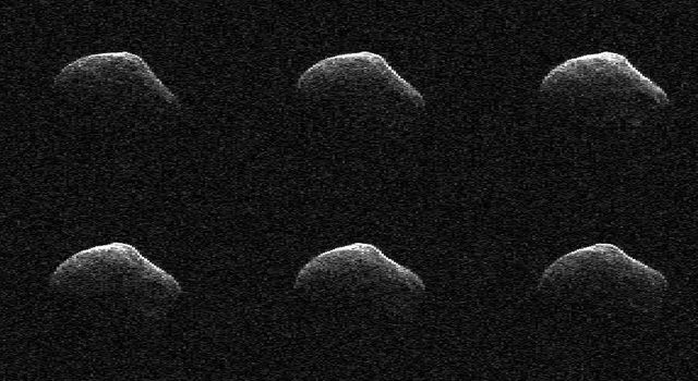 These radar images of comet P/2016 BA14 were taken on March 23, 2016, by scientists using an antenna of NASA's Deep Space Network at Goldstone, California. At the time, the comet was about 2.2 million miles (3.6 million kilometers) from Earth.