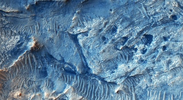 Jezero Crater is candidate future landing site that contains sediments deposited by at least three ancient rivers as seen by NASA's Mars Reconnaissance Orbiter spacecraft. There are some good exposures of ancient bedrock.