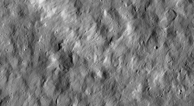 This view from NASA's Dawn spacecraft shows a scene from the northern hemisphere of Ceres, north of Occator Crater, which is home of the brightest area on the dwarf planet.
