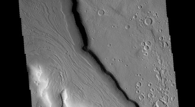 This image captured by NASA's 2001 Mars Odyssey spacecraft shows a portion of an unnamed channel located on the northern margin of Arabia Terra.