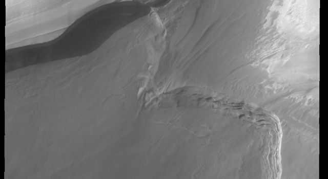 This image captured by NASA's 2001 Mars Odyssey spacecraft shows part of Boreum Cavus, at the interior end of Chasma Boreale.