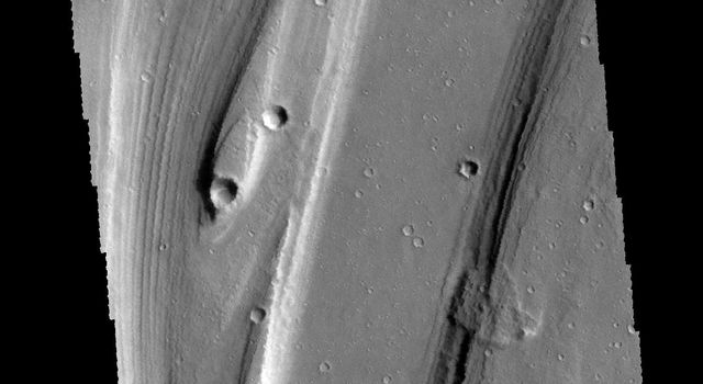 This image captured by NASA's 2001 Mars Odyssey spacecraft shows a small portion of Shalbatana Vallis, near the end of the channel where it drains into Chryse Planitia.