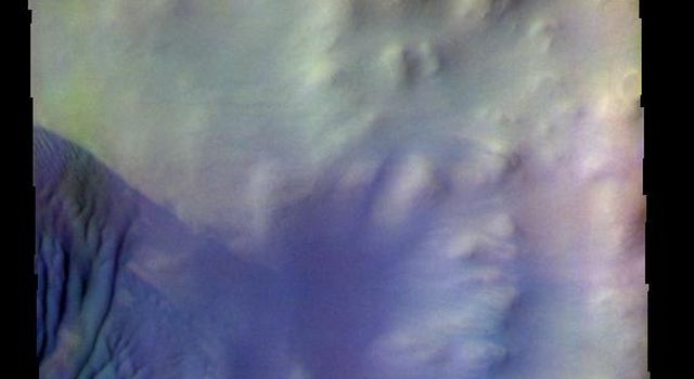 The THEMIS camera contains 5 filters. The data from different filters can be combined in multiple ways to create a false color image. This image from NASA's 2001 Mars Odyssey spacecraft shows some of the dunes on the floor of Wegener Crater.