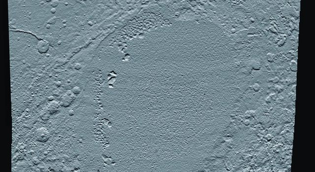 This shaded relief view from NASA's New Horizons of the region surrounding the left side of Pluto's heart-shaped feature, informally named Sputnik Planum, shows that the vast expanse of its icy surface.