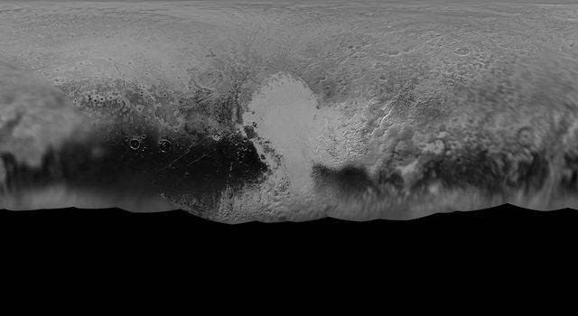 NASA's New Horizons mission science team has produced this updated panchromatic (black-and-white) global map of Pluto. The map includes all resolved images of Pluto's surface acquired between July 7-14, 2015.