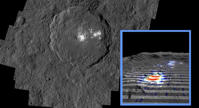 The inset perspective view from NASA's Dawn space of Ceres' bright spot Occator Crator is overlaid with data concerning the composition. Red signifies a high abundance of carbonates, while gray indicates a low carbonate abundance.