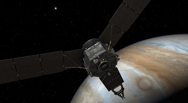 This illustration depicts NASA's Juno spacecraft at Jupiter, with its solar arrays and main antenna pointed toward the distant sun and Earth.