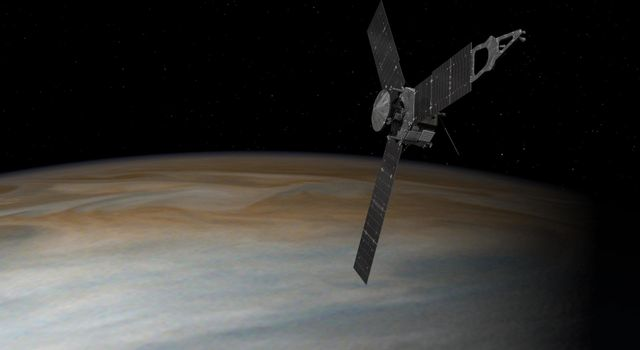 This illustration depicts NASA's Juno spacecraft in orbit above Jupiter. From its unique polar orbit, Juno will repeatedly dive between the planet and its intense belts of charged particle radiation.