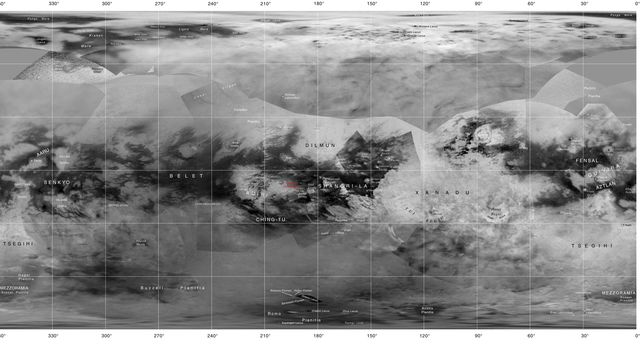 Map of Titan with Labeled Features