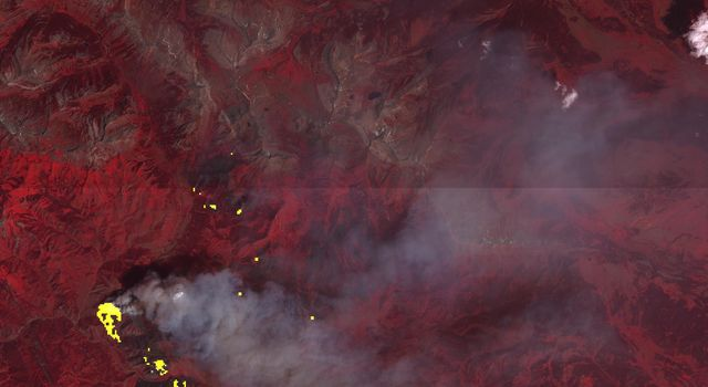 This image, captured by NASA's Terra spacecraft on July 27, 2016, shows the Lava Mountain fire in Wyoming where several small towns have been evacuated.