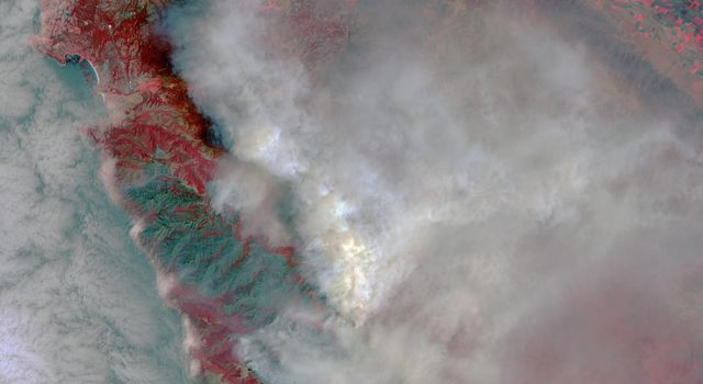 Destructive Wildfire Near Big Sur, California. Captured NASA's Terra Satellite