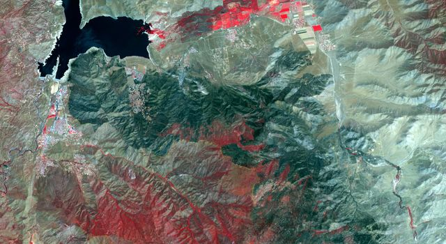 The Erskine wildfire, northeast of Bakersfield, California, is the state's largest to date in 2016. After starting on June 23, the fire has consumed 47,000 acres. This image is from NASA's Terra spacecraft.