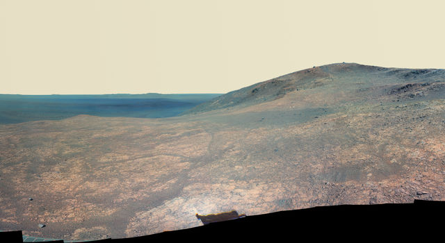 Mars Rover Opportunity's Panorama of 'Marathon Valley' (Enhanced Color)