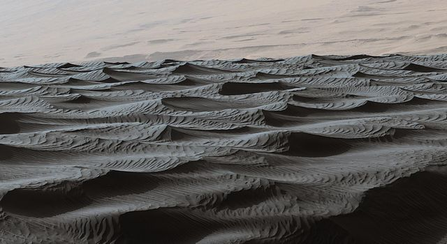 Two sizes of wind-sculpted ripples are evident in this view from NASA's Curiosity of the top surface of 'Namib Dune' in the Bagnold Dune Field. The larger ripples are a type not seen on Earth nor previously recognized as a distinct type on Mars.