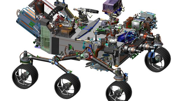 This 2016 image comes from computer-assisted-design work on the 2020 rover. The design leverages many successful features of NASA's Curiosity rover, which landed on Mars in 2012.