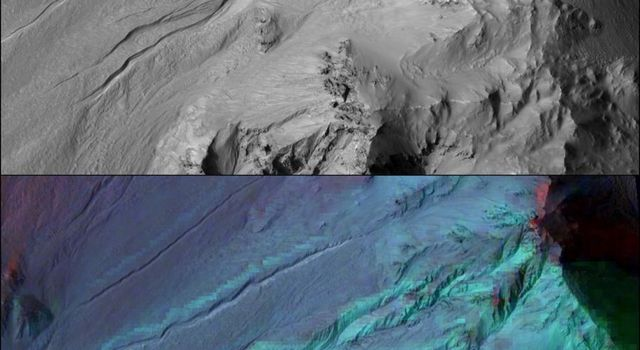 Martian gullies as seen in the top image from NASA's Mars Reconnaissance Orbiter resemble gullies on Earth that are carved by liquid water.
