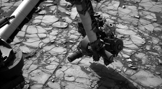 NASA's Curiosity Mars rover began close-up investigation of a target called 'Marimba,' on lower Mount Sharp, during the week preceding the fourth anniversary of the mission's dramatic sky-crane landing.