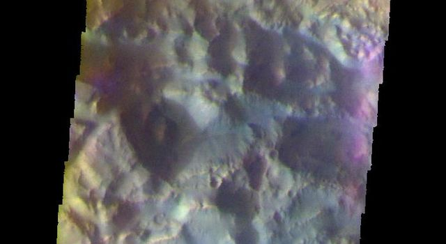 The THEMIS camera contains 5 filters. The data from different filters can be combined in multiple ways to create a false color image. This image from NASA's 2001 Mars Odyssey spacecraft shows Pyrrhae Chaos.