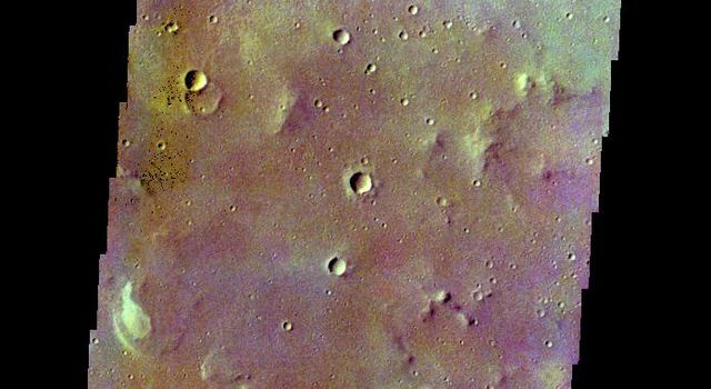 The THEMIS camera contains 5 filters. The data from different filters can be combined in multiple ways to create a false color image. This image from NASA's 2001 Mars Odyssey spacecraft shows part of Margaritifer Terra.