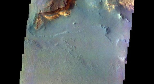 The THEMIS camera contains 5 filters. The data from different filters can be combined in multiple ways to create a false color image. This image from NASA's 2001 Mars Odyssey spacecraft shows part of Capri Mensa.