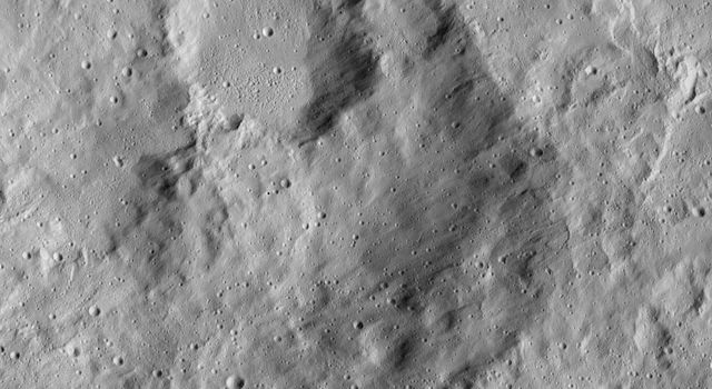 Cratered terrain in the northern hemisphere of Ceres is seen in this image from NASA's Dawn spacecraft. The scene is dotted with small impacts among larger, more ancient craters.