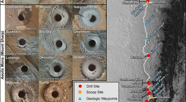This graphic maps the first 16 sites where NASA's Curiosity Mars rover collected rock or soil samples for analysis by laboratory instruments inside the vehicle. It also presents images of the drilled holes where 14 rock-powder samples were acquired.