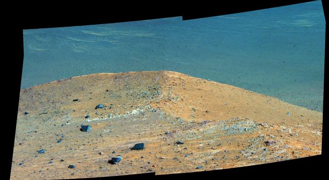 'Spirit Mound' at Edge of Endeavour Crater, Mars (Enhanced Color)