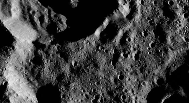 Terrain shown in this view from Ceres lies within the large, southern hemisphere impact basin named Zadeni. NASA's Dawn spacecraft took this image on June 17, 2016.