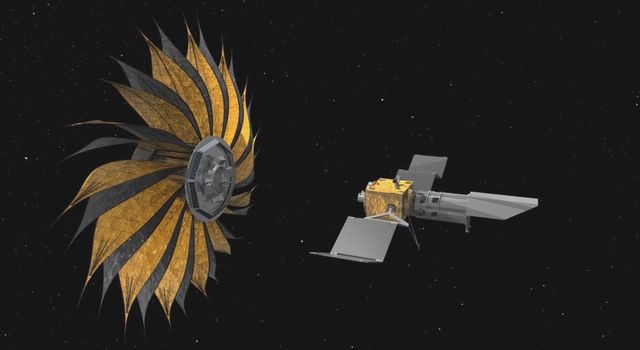 This artist's rendering shows the proposed starshade concept flying in sync with a space telescope. The giant sunflower-like structure would be used to acquire images of Earth-like rocky planets around nearby stars.