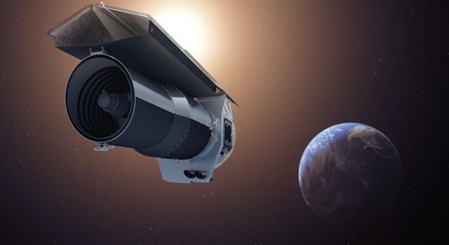 This artist's concept shows NASA's Spitzer Space Telescope. Spitzer begins its 'Beyond' mission phase on Oct. 1, 2016. Spitzer is depicted in the orientation it assumes to establish communications with ground stations.