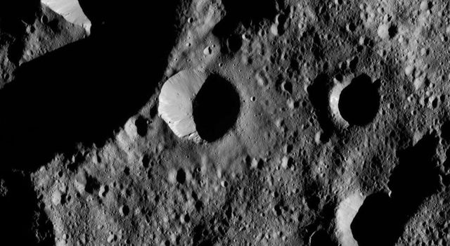 This view from NASA's Dawn spacecraft shows terrain in the northern hemisphere of Ceres, near Jarovit Crater. This image was taken on June 2, 2016, at a distance of about 240 miles (385 kilometers) above the surface.
