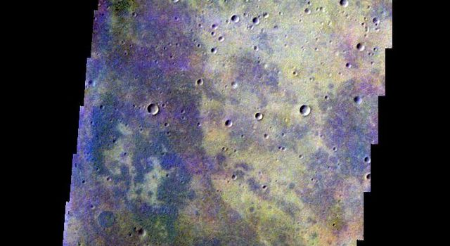 The THEMIS camera contains 5 filters. The data from different filters can be combined in multiple ways to create a false color image. This image from NASA's 2001 Mars Odyssey spacecraft shows part of the plains of Noachis Terra.