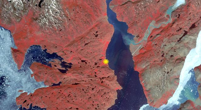 The first Norse settlement of Greenland was at Brattahlid (now Qassiarsuk), as shown in this image captured by NASA's Terra spacecraft.