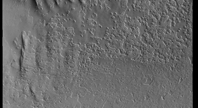 This image captured by NASA's 2001 Mars Odyssey spacecraft shows part of the South Polar cap.