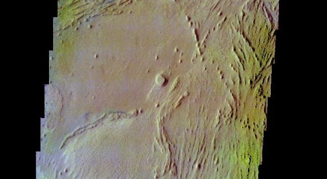 The THEMIS camera contains 5 filters. The data from different filters can be combined in multiple ways to create a false color image. This image from NASA's 2001 Mars Odyssey spacecraft shows part of the interior deposit in Firsoff Crater.