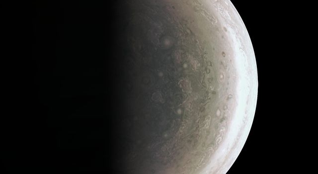 NASA's Juno spacecraft acquired this view of Jupiter's south polar region about an hour after closest approach on Aug. 27, 2016, when the spacecraft was about 58,700 miles (94,500 kilometers) above the cloud tops.
