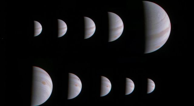 This montage of 10 JunoCam images shows Jupiter growing and shrinking in apparent size before and after NASA's Juno spacecraft made its close approach on August 27, 2016.