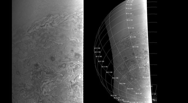 NASA's Juno spacecraft shows a southern hemisphere view of Jupiter shows the transition between banded structures near the equator and the more chaotic features near the polar region, as seen on August 27, 2016.
