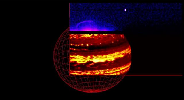As NASA's Juno spacecraft approached Jupiter on Aug. 27, 2016, the Jovian Infrared Auroral Mapper (JIRAM) instrument captured the planet's glow in infrared light.