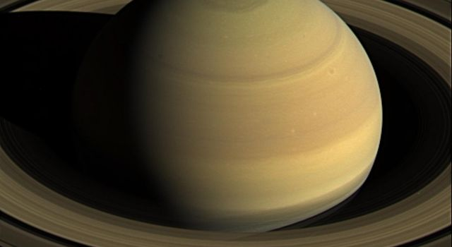 This frame from a movie is one of many exposures taken by NASA's Cassnii spacecraft. Cassini stared at Saturn for nearly 44 hours on April 25 to 27, 2016, to obtain exposures showing just over four Saturn days. A movie is available at the Photojournal.