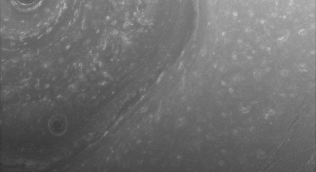 This view from NASA's Cassini spacecraft was obtained about two days before its first close pass by the outer edges of Saturn's main rings during its penultimate mission phase.