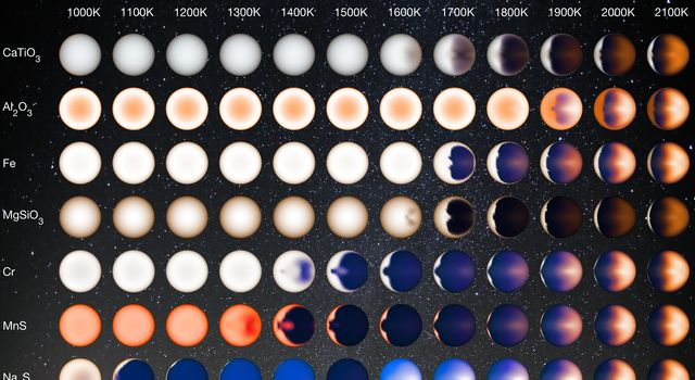 This illustration based on computer modeling and data from NASA's Kepler Space Telescope, represents how hot Jupiters of different temperatures and different cloud compositions might appear while flying over the dayside of these planets on a spaceship.