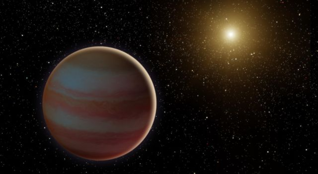 This illustration depicts a brown dwarf. NASA's Spitzer and Swift missions observed a microlensing event as the star passed between Earth and a much more distant star in our galaxy.