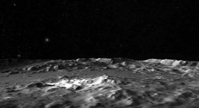 This frame from a video captured by NASA's Dawn spacecraft shows a flyover of the intriguing crater named Occator on dwarf planet Ceres. Occator is home to Ceres' brightest area.