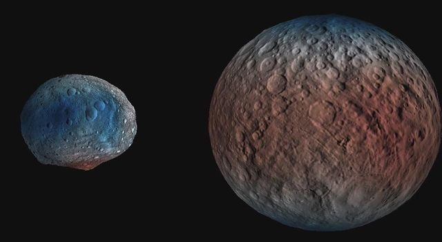 This frame from an animation shows dwarf planet Ceres overlaid with the concentration of hydrogen determined from data acquired by the gamma ray and neutron detector (GRaND) instrument aboard NASA's Dawn spacecraft.