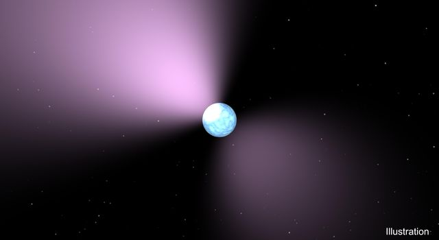 This artist's concept shows a pulsar, which is like a lighthouse, as its light appears in regular pulses as it rotates. Pulsars are dense remnants of exploded stars, and are part of a class of objects called neutron stars.