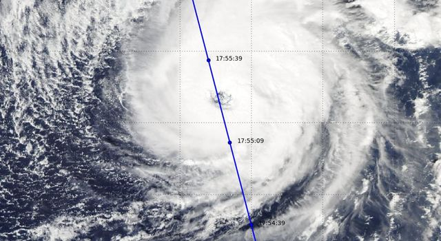 NASA's CloudSat satellite completed an eye overpass of Hurricane Nicole on Oct. 12, 2016, at 10:55 a.m. PDT (17:55 UTC) as the storm was moving toward Bermuda.